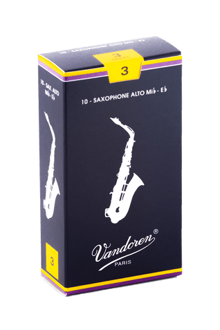 Horn Hospital has Vandoren Alto Sax Reeds, Sold by a Box of 10, Available in Strengths: #2.5, #3, or #3.5