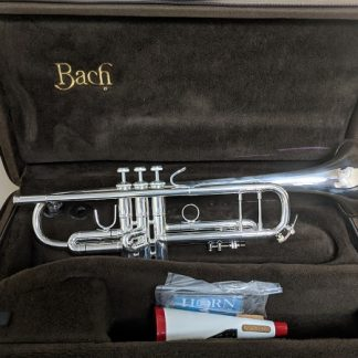 This Bach Stradivarius is a professional silver-plated trumpet.