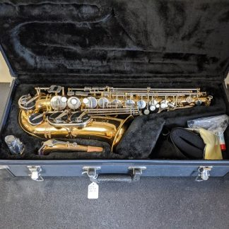 This Jupiter alto sax would be a good instrument for a beginner player.