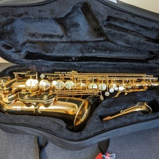 This Nuova alto sax is in good playing condition.