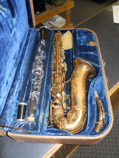 Used Instrument: Selmer Cigar Cutter Alto Sax and Clarinet--#15292/K5359 Photo 2